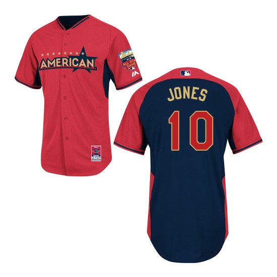 Men's Majestic Baltimore Orioles 10 Adam Jones Replica Red/Navy American League 2014 All-Star BP MLB Jersey