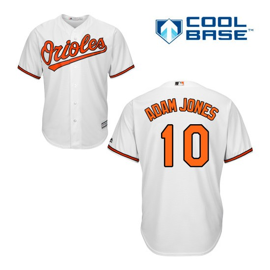 Men's Majestic Baltimore Orioles 10 Adam Jones Replica White Home Cool Base MLB Jersey