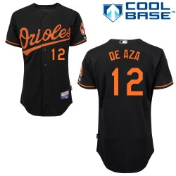 Men's Majestic Baltimore Orioles 12 Alejandro De Aza Replica Black Alternate Cool Base MLB Jersey