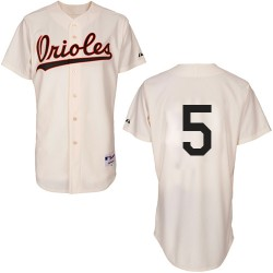 Men's Majestic Baltimore Orioles 5 Brooks Robinson Authentic Cream 1954 Turn Back The Clock MLB Jersey