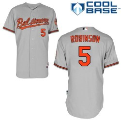 Men's Majestic Baltimore Orioles 5 Brooks Robinson Authentic Grey Road Cool Base MLB Jersey