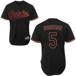 Men's Majestic Baltimore Orioles 5 Brooks Robinson Replica Black Fashion MLB Jersey