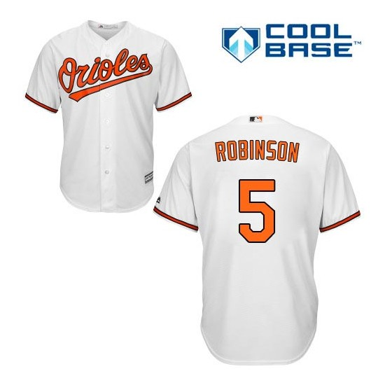 Men's Majestic Baltimore Orioles 5 Brooks Robinson Replica White Home Cool Base MLB Jersey