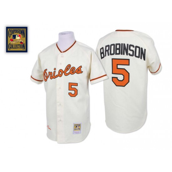 Men's Mitchell and Ness Baltimore Orioles 5 Brooks Robinson Authentic Cream Throwback MLB Jersey
