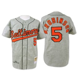 Men's Mitchell and Ness Baltimore Orioles 5 Brooks Robinson Authentic Grey Throwback MLB Jersey