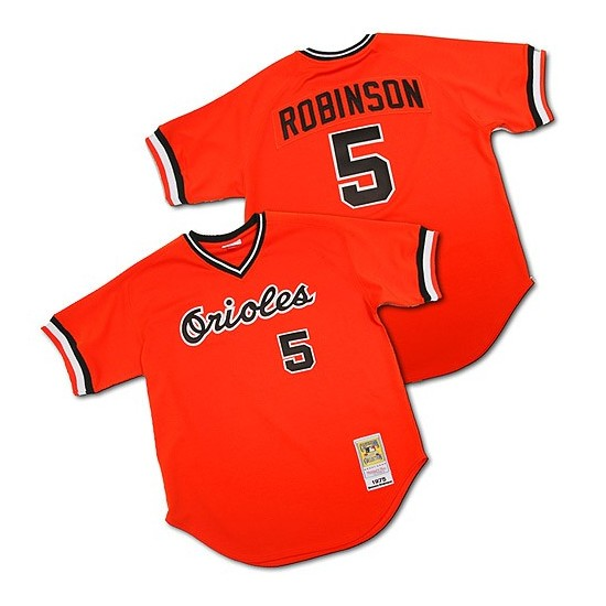 Men's Mitchell and Ness Baltimore Orioles 5 Brooks Robinson Authentic Orange Throwback MLB Jersey