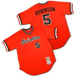 Men's Mitchell and Ness Baltimore Orioles 5 Brooks Robinson Replica Orange Throwback MLB Jersey