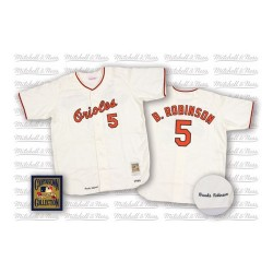 Men's Mitchell and Ness Baltimore Orioles 5 Brooks Robinson Replica White Throwback MLB Jersey