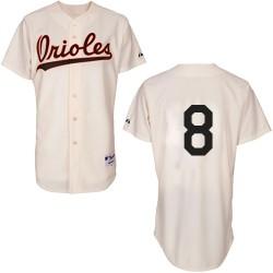 Men's Majestic Baltimore Orioles 8 Cal Ripken Authentic Cream 1954 Turn Back The Clock MLB Jersey