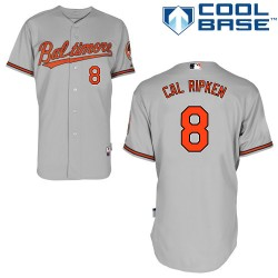 Men's Majestic Baltimore Orioles 8 Cal Ripken Authentic Grey Road Cool Base MLB Jersey