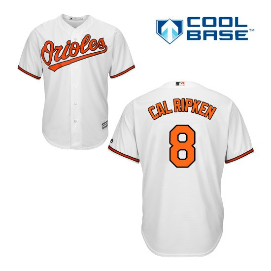Men's Majestic Baltimore Orioles 8 Cal Ripken Authentic White Home Cool Base MLB Jersey