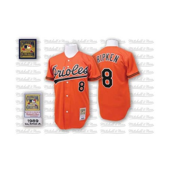 Men's Mitchell and Ness 1989 Baltimore Orioles 8 Cal Ripken Authentic Orange Throwback MLB Jersey