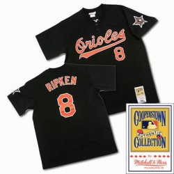 Men's Mitchell and Ness Baltimore Orioles 8 Cal Ripken Authentic Black Throwback MLB Jersey