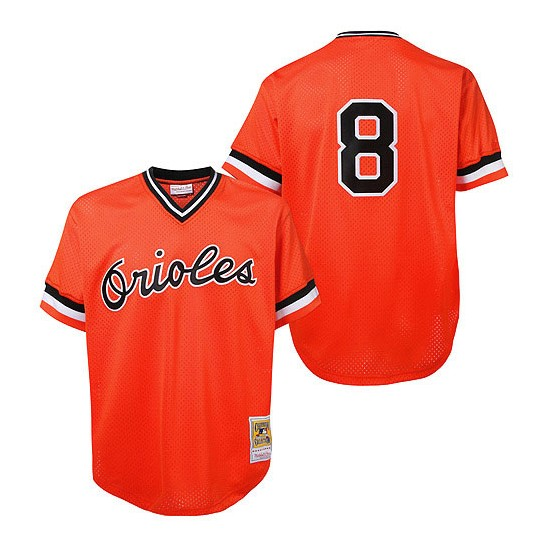 Men's Mitchell and Ness Baltimore Orioles 8 Cal Ripken Authentic Orange Throwback MLB Jersey