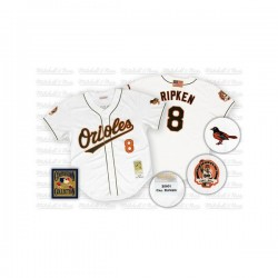 Men's Mitchell and Ness Baltimore Orioles 8 Cal Ripken Authentic White Throwback MLB Jersey
