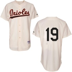 Men's Majestic Baltimore Orioles 19 Chris Davis Authentic Cream 1954 Turn Back The Clock MLB Jersey